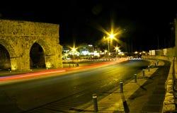 Noc widok miasto Heraklion Zdjęcia Royalty Free