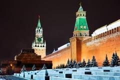 Noc widok Moskwa Kremlin w zima sezonie Fotografia Royalty Free