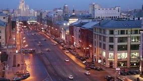 Noc widok Moskwa od wysokiego punktu obserwacja pokład na budynku Środkowy dziecka ` s sklep, Rosja zbiory wideo