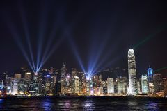 Noc widok na Hong Kong wyspie Obrazy Stock