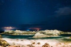 Noc widok na oceanie Obraz Stock