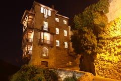 Noc widok na skalistym banku Jucar w Cuenca Obrazy Royalty Free