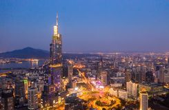 Noc widok Nanjing City centrum obrazy stock