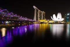 Noc widok ogrodowy Singapore Zdjęcia Royalty Free