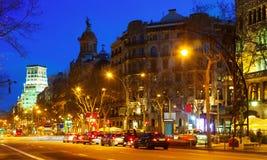 Noc widok Passeig De Gracia w Barcelona Obrazy Royalty Free