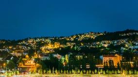 Noc widok pejzaż miejski w Oslo, Norwegia Fotografia Stock