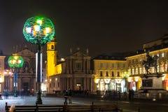 Noc widok piazza San Carlo w Turyn, Włochy Obrazy Stock