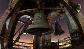 Noc widok przy księżyc w pełni dzwony przy Cathedrals' był Zdjęcie Royalty Free