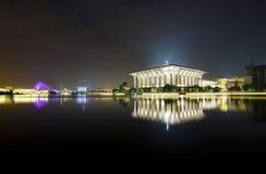 Noc widok przy Masjid Putrajaya Fotografia Royalty Free