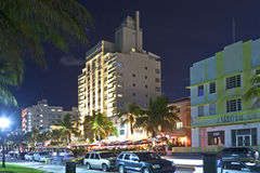 Noc widok przy ocean przejażdżką w Miami Obraz Royalty Free