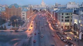 Noc widok Rosja Moskwa od wysokiego punktu, (obserwacja pokład na budynku Środkowy Children sklep) zdjęcie wideo