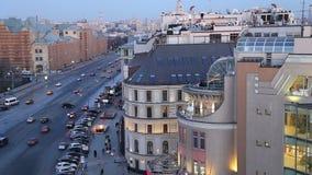 Noc widok Rosja Moskwa od wysokiego punktu, (obserwacja pokład na budynku Środkowy Children sklep) zbiory
