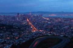 Noc widok San Fransisco, Kalifornia centrum miasta Zdjęcie Stock