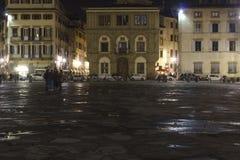Noc widok Santa Croce kwadrat w Florencja Zdjęcia Royalty Free