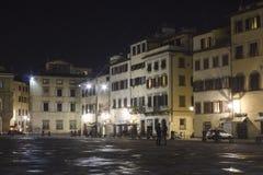 Noc widok Santa Croce kwadrat w Florencja, po deszczu Fotografia Stock