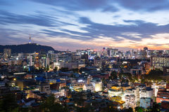 Noc widok Seul miasto, Południowy Korea Obraz Stock