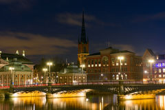Noc widok Sztokholm, Szwecja Obrazy Royalty Free