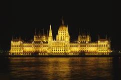 Noc widok Węgierski parlament Zdjęcia Royalty Free