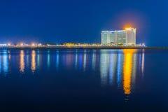 Noc widok w Phnom penh, Kambodża Obrazy Stock
