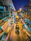Noc widok w ruchu Bangkok metropolia obrazy royalty free