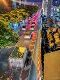 Noc widok w ruchu Bangkok metropolia obrazy stock