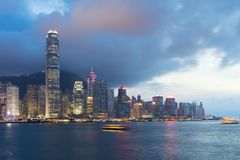 Noc widok Wiktoria schronienie w Hong Kong asia fotografia stock
