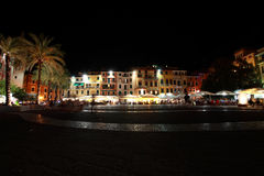 Noc widok wioska Lerici a obraz stock