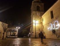 Noc widok wioska Montefusco, Włochy obraz royalty free