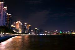 Noc widok wysoki obszar zamieszkały na Perełkowej rzece, Guangzhou, Chiny Obrazy Royalty Free