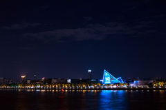 Noc widok wysoki obszar zamieszkały na Perełkowej rzece, Guangzhou, Chiny Obraz Royalty Free