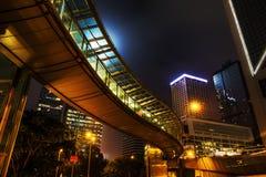 Noc widok z footbridge w Hongkong centrali Fotografia Royalty Free