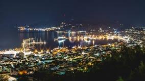 Noc widok Zakynthos miasteczko, Grecja obrazy stock