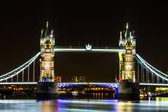 Noc widoku Londyn wierza most Zdjęcia Royalty Free