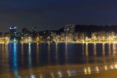 Noc widoku plaża Icarai Niteroi zdjęcia royalty free