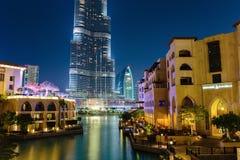 Noc widoku rzep Dubaj zdjęcie stock