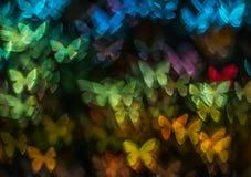 Noc zaświeca bokeh motyliego kształt, defocused bokeh światła, plama Obrazy Stock