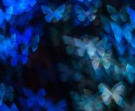 Noc zaświeca bokeh motyliego kształt, defocused bokeh światła, plama Zdjęcia Royalty Free