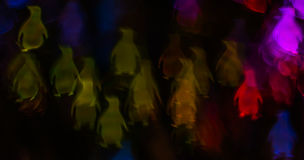 Noc zaświeca bokeh pingwinu kształt, defocused bokeh światła, blurre Zdjęcia Stock