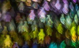 Noc zaświeca bokeh pingwinu kształt, defocused bokeh światła, blurre Zdjęcia Royalty Free