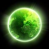 noc zielona planeta Fotografia Royalty Free