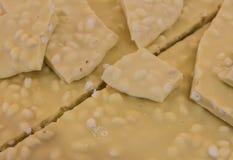 Nocciola del briciolo della cioccolata bianca Primo piano Fuoco selettivo immagine stock