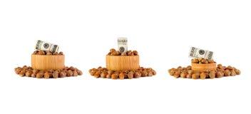 Nocciola turca della nocciola ad una ciotola di legno Il concetto dello sviluppare Immagine Stock Libera da Diritti