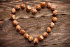 Nocciole a forma di del cuore Fotografia Stock Libera da Diritti