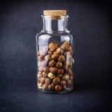 Nocciole in un vaso di vetro Fotografia Stock Libera da Diritti