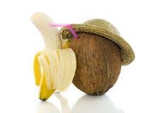 Noce di cocco con l'amico della banana Immagini Stock
