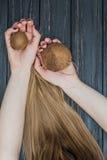 Noce di cocco della tenuta in mani Fotografie Stock Libere da Diritti