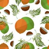 Noce di cocco e foglie senza cuciture del modello illustrazione vettoriale
