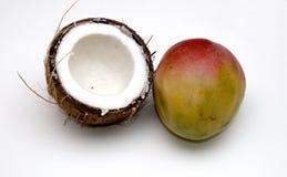 Noce di cocco e mango Fotografia Stock Libera da Diritti