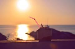 Noce di cocco e spiaggia di tramonto Fotografia Stock Libera da Diritti