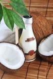 Noce di cocco ed olio di massaggio Immagini Stock Libere da Diritti